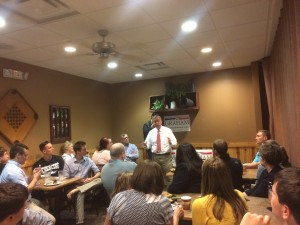 Senator Lindsey Graham visits a Pizza Ranch in Waukee, Iowa.