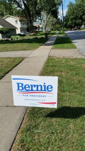 Yard signs have yet to inundate Des Moines, but one candidate is doing better than others: Bernie Sanders. Photo by Zachary Blevins,