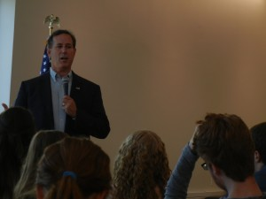 Sen. Rick Santorum speaks at Drake University on Monday at Cartwright Hall. Photo by Aaron Feldman.
