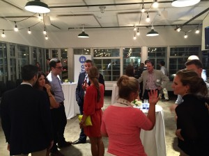 Sidewire staff mingling with Iowa press and politicians at last Thursday's launch.