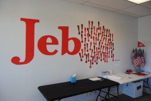 Jeb Bush office wall with exclamation points from supporters. Photo by Skylar Borchardt