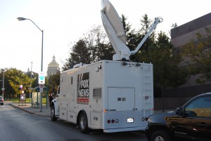 Fox News Van outside Jeb Event Photo by Skylar Borchardt