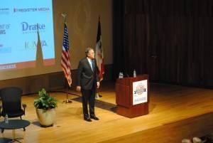 Jeb Bush addressing crowd at Iowa Caucus Consortium Event Photo by Skylar Borchardt
