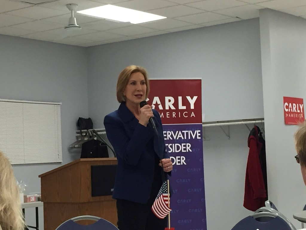 Republican presidential candidate Carly Fiorina speaks to Iowa voters in Indianola. Photo by Aaron Feldman.