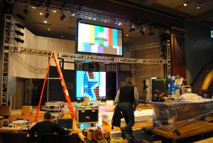 Monitors being set up for CBS Democratic Debate Photo by Skylar Borchardt