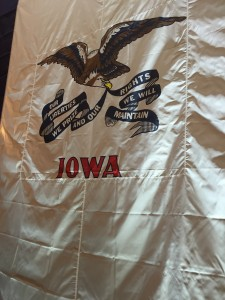 An Iowa flag on display at a rally for Senator Marco Rubio. Photo by Ellen Bruegger