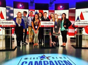 Drake students on the debate stage. Photo by Jackie Heymann.