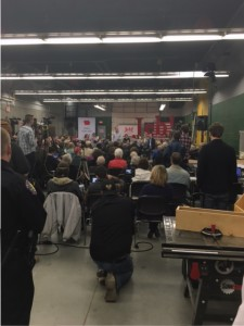 Jeb Bush addresses small a crowd in Newton. Photo by Logan Kentner.