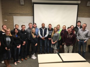 BJ Carson takes a moment to take a picture with Drake College Republicans.