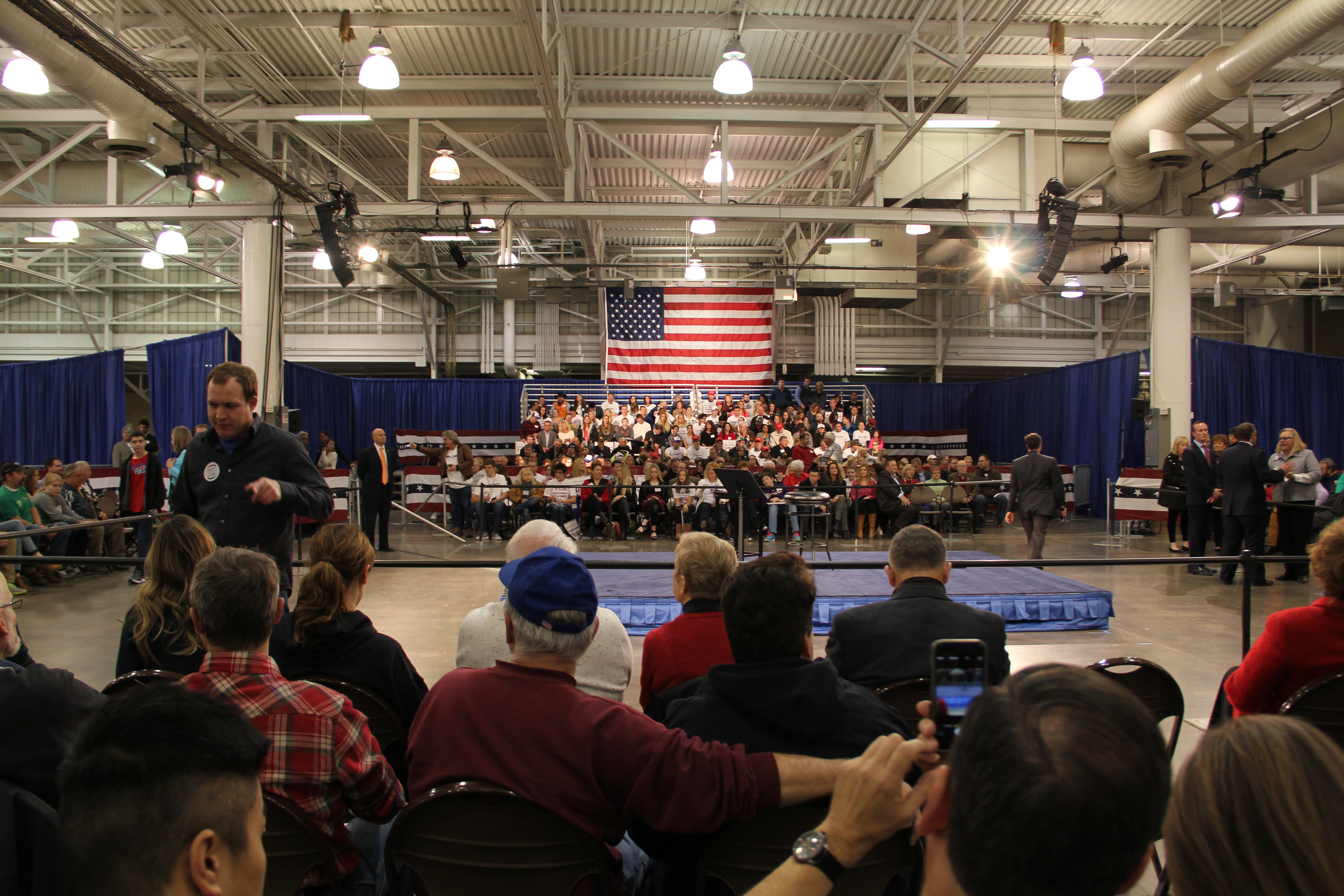 Stage set for Donald Trump at a town hall in Des Moines. Photo by Katie Ramsey.
