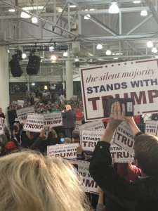 Rally signs amidst Donald Trump. Photo by Skylar Borchardt
