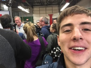 Presidential candidate Jeb Bush (the light-blue shirt to the left) visits DMACC in Newton. STRONG selfie game from Aaron Feldman.