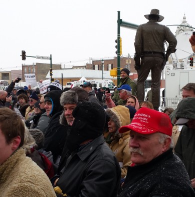 Trump supporters wait at Winterset