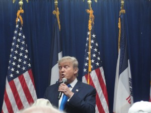 Donald Trump speaks to a standing-only crowd at Living History Farms in Urbandale on Friday.