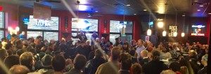 Brick City Grill in Ames, IA was full for Governor Chris Christie's town hall. Photo by Mackenzie Allison.